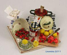Miniature Strawberry Jam Preparation Board by Linda Cummings
