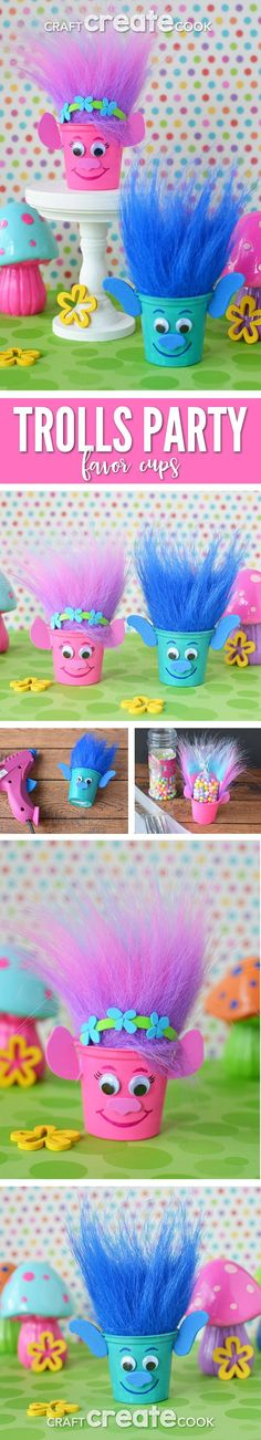 Poppy and Branch Trolls party favors - k cup crafts - kids parties - Trolls crafts