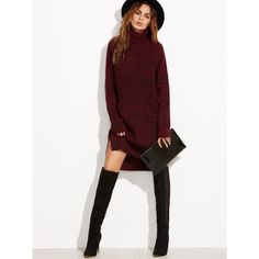 To find out about the Burgundy Marled Knit Turtleneck High Low Sweater Dress at SHEIN, part of our latest Sweater Dresses ready to shop online today! Fall Fashion Trends, Autumn Fashion, Pull Bordeaux, Casual Dresses, Casual Outfits, Casual Wear, Casual Chic, Long Sleeve Sweater Dress, Sleeve Dresses
