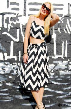 Chevron Print Cami Top Skirt Matching Sets m.OASAP.com