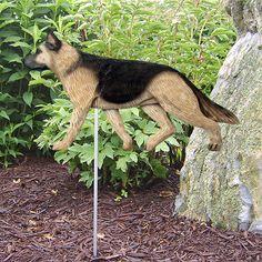 4 Coat Styles-German Shepherd Dog Figure Garden Stake. Home Yard & Garden Products & Gifts.