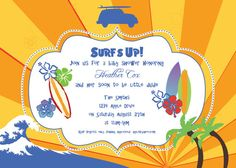 Surfer Birthday Party/Baby Shower Invitation by lulime44 on Etsy, $12.00