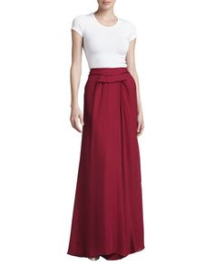Pleated Georgette High-Low Skirt by J. Mendel at Neiman Marcus. Chiffon Skirt, Dress Skirt, Pleated Skirts, High Low Skirt, High Waisted Skirt, Bridesmaid Tops, Long Skirts For Women, Maxi Styles, Fashion Sewing