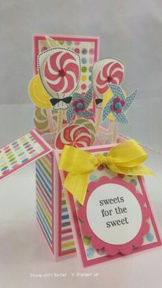Stampin up sweets for the sweet card in a box I made using sunshine and sprinkles dsp. Card in a box cased from Stamping T!