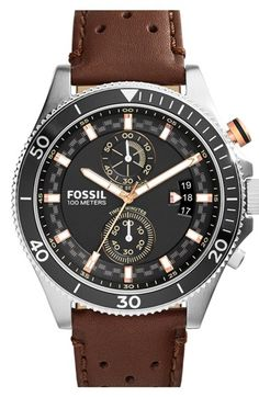 Free shipping and returns on Fossil 'Wakefield' Chronograph Leather Strap Watch, 45mm at Nordstrom.com. An aluminum bezel adds a light, sporty feel to a cool round watch set on a perforated leather strap.