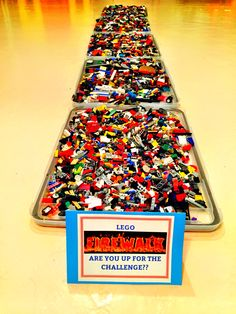 Lego Firewalk challenge. Definitely has to be in bare feet. Middle school boys loved this. minute To Win It #StaceyMoeEvents