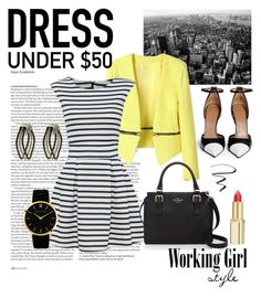 """""""Dress Under $50: Working Girl Style"""" by lavenderwine ❤ liked on Polyvore featuring ASOS, Givenchy, WalG, Kate Spade, L'Oréal Paris, Larsson & Jennings, Alor, Maybelline, WorkWear and contest"""