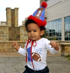 Boys First Birthday Football Shirt and Hat  by AllRibbonedOut, $35.00