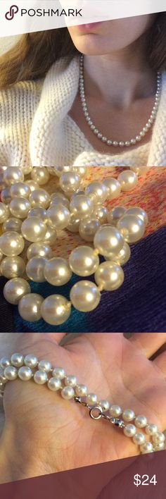 Winter Faux Classic Pearl Strand String Knotted Excellent condition. Smoke free home. Classy and chic. Holiday, formal or fancy party. Cocktail party dress up. Short medium length single strand. Jackie O  small size. Each pearl is about 4mm width. Cosplay. Costume. Theatre. Actress. Doll. Dolly. Lolita. Meow. Vintage Jewelry Necklaces
