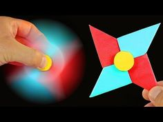 Origami Fidget Spinner - How to make a Fidget Spinner without a bearing: DIY Spinner with paper Origami Toys, Instruções Origami, Cute Origami, Paper Crafts Origami, Origami Claws, Origami Fidget Spinner, Fidget Spinner Template, Fidget Spinner Craft, Spinner Toy