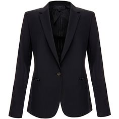 Equipment Jay Black Wool Blazer (30,410 INR) ❤ liked on Polyvore featuring outerwear, jackets, blazers, blazer, black, evening jackets, long sleeve jacket, lapel jacket, tailored jacket and wool jacket