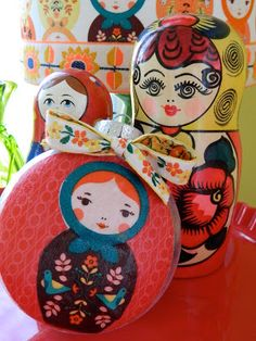 the vintage umbrella: Nesting doll ornaments