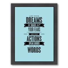 Americanflat Motivated Let Your Dreams Be Bigger Than Your Fears Framed Textual Art Frame Color: