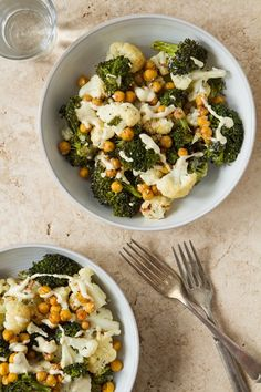 Roasted Buddha Bowl: creamy cashew-based lemon tahini sauce, roasted chickpeas, cauliflower, and broccoli...good veggies for detox and could add roasted Brussel sprouts too  {Oh She Glows}