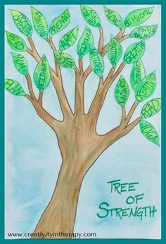 Tree of Strength (Creativity in Therapy) This art therapy directive helps clients to identify their personal strengths, coping skills, and supportive people to get through a difficult time. Great creative activity for mental health or trauma treatment, i Group Therapy Activities, Mental Health Activities, Counseling Activities, Creative Activities, Time Activities, Therapy Worksheets, Child Mental Health, Mental Health Support Groups, Counseling Teens