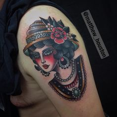 Fun ladyhead from yesterday and  start of a sleeve for Joe, thanks bruv. #ladyhead #Victorian #traditional #tattoo @sevendoorstattoo