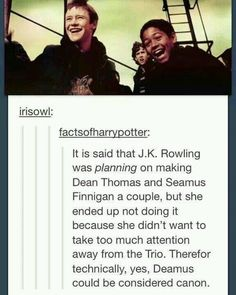 To be perfectly honest, I ship Deamus more than I ship Seamus Finnigan and Lavender Brown. Harry Potter Ships, Harry Potter Books, Harry Potter Love, Harry Potter Universal, Harry Potter Fandom, Harry Potter World, Harry Potter Memes, Potter Facts, Drarry