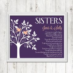 SISTER gift print, Personalized gift for your Sister, Wedding Gift for Sister, Birthday Gift, CANVAS or Prints by BlendedCreationsInc on Etsy