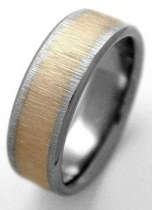 directionally brushed matte finished titanium wedding band featuring 18ct yellow gold lining hand made in tasmania pinterest - Unique Wedding Rings For Him