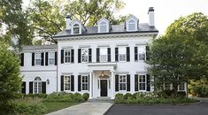 Meticulously planning and care were taken in every aspect of this stately colonial home renovation in Princeton, NJ. Highlights include a kitchen addition with an skylight, custom cabinetry, an antique floor finish and exterior copper capping. Traditional Home Exteriors, Colonial House Exteriors, Colonial Exterior, New Home Construction, Home Additions, Facade, House Design, Architecture, Building