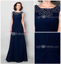 A-line Plus Sizes / Petite Mother of the Bride Dress - Dark Navy Floor-length Sleeveless Chiffon 2015 – $123.49
