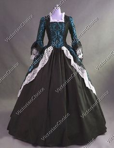 Marie Antoinette Colonial Brocade Period Dress Ball Gown Riding Habit Steampunk Costume