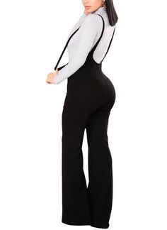 89060f4c239 Women Dungarees Overalls Bell-bottomed High Waist O-ring Zipper Front  Flared Casual Jumpsuits Pants Trousers
