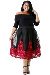 Red Lacy Embroidery Tulle Skirt Curvy Skater Dress