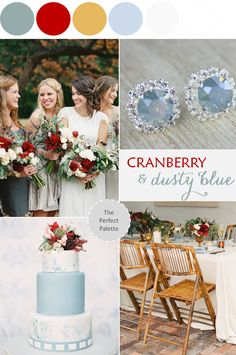 Color Story | Cranberry + Dusty Blue - www.theperfectpalette.com - Color Ideas for Weddings + Parties