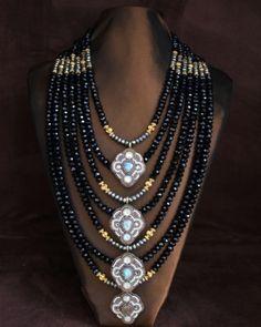 Labradorite, Pyrite & Black Crystal Statement Necklace