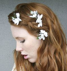 Flower bobby pins with vintage flowers by BeSomethingNew on Etsy, $28.00 (instead of a veil)
