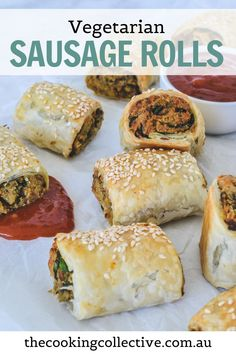Vegetarian Pastries, Vegetarian Recipes, Vegetarian Party Foods, Veggie Party Food, Vegetarian Freezer Meals, Savoury Pastry Recipe, Puff Pastry Recipes, Veggie Sausage, Sausage Recipes