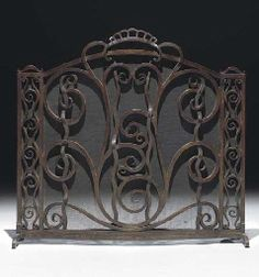 WROUGHT IRON FIRE SCREEN  Designed by Joseph Bernard and executed by Edgar Brandt, 1926  Stamped 'E. BRANDT'