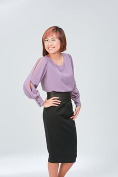 """Long Sleeved Chiffon Top by Alice.    Flowy chiffon top with slits on the sleeves, very wearable for work.    Available in limited quantity.    Chiffon, with inner lining on the front.    Measurements:    S: 18"""" PTP, 22"""" Sleeve, 24"""" Down, 8"""" Arm Opening.  M: 19"""" PTP, 22"""" Sleeve, 24"""" Down, 9"""" Arm Opening.    Model is 162cm/UK8, wears Alice size """"S"""". #chiffon #top #sleeves #slit  $42"""