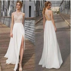 Long Open Back Side Slit Chiffon Cheap Prom Evening Dresses, Simple Beach Wedding Dress, PD0049