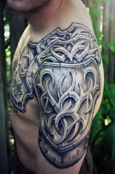 Mens Chest And Arm Armor Tattoos