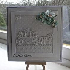 Tattered lace horse and carriage. This lady makes some lovely cards using dies. Hand Made Greeting Cards, Making Greeting Cards, Greeting Cards Handmade, Tattered Lace Cards, Wedding Cards Handmade, Spellbinders Cards, Wedding Anniversary Cards, Card Wedding, Wedding Ideas