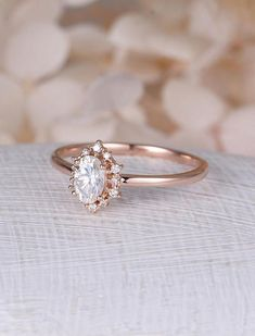 Vintage engagement ring Oval Moissanite engagement ring rose gold diamond halo wedding Jewelry Anniversary Valentines Day Gift for women Description: -Classic style diamond ring -Natural Conflict Free Diamonds - comfortable band Moissanite carat:approx 6*4mm Shape:Oval Natural #weddingring