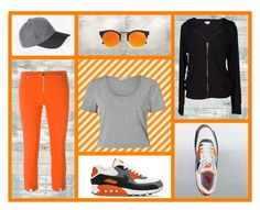 """""""Orange is the new Black"""" by salstan ❤ liked on Polyvore featuring NIKE, WallPops, Miss Selfridge, BP., LULUS, Versace, Velvet by Graham & Spencer, hautecouture and contestentry"""