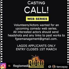 ALEX EHI AUDITIONS: CASTING CALL FOR A WEB SERIES