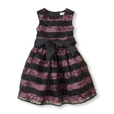The prettiest addition to the #Thanksgiving table. Girl's striped overlay dress #girlsfashion #holidaystyle