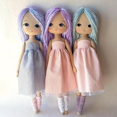Sparkle Starling Doll pattern by Gingermelon Doll Crafts, Diy Doll, Doll Clothes Patterns, Doll Patterns, Sewing Patterns, 4 Ply Yarn, Fabric Dolls, Doll Face, Embroidery Stitches