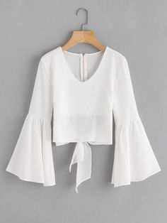 Shop Flare Sleeve Bow Tie Back Blouse online. SheIn offers Flare Sleeve Bow Tie Back Blouse & more to fit your fashionable needs. Casual Outfits, Girl Outfits, Cute Outfits, Men Casual, Blouse Styles, Blouse Designs, Textiles Y Moda, Hijab Fashion, Fashion Outfits
