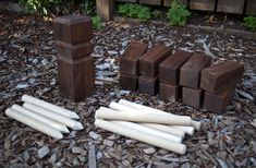 outside yard game, can be played with 2-12 people. Its called Kubb, and this is cheap easy DIY for making your own set, and it includes a link for instructions how to play.