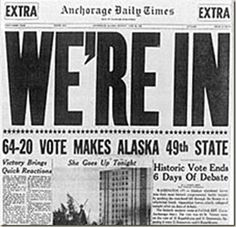 "On this day in Jan 3, 1959: President Eisenhower signed the territory of Alaska into the Union as the 49th and largest state.  On March 30, 1867, Secretary of State William H. Seward signed a treaty with Russia to purchase Alaska for $7.2 million at the price of about two cents an acre, the purchase was ridiculed as ""Seward's folly,"" ""Seward's icebox,"" and President Andrew Johnson's ""polar bear garden."" But the Senate ratified purchase of the land, one-fifth the size of the rest of the…"
