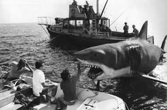 """""""Jaws"""" Director Spielberg, in the middle in white shirt and the """"talent"""" on the right mouth open... Lol"""