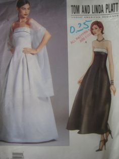 Vogue 2376 Sewing Pattern, Tom and Linda Platt, Designers Pattern, 1990s Evening Dress Pattern, Bust 31 and Half to 34 Inches, Formal Dress