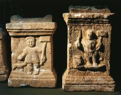 Two small altars with bas-reliefs depicting the Gallic God Sucellus holding an olla in one hand and a wooden mallet in the other, Lyon, Musée De La Civilisation Gallo-Romaine (Archaeological Museum)