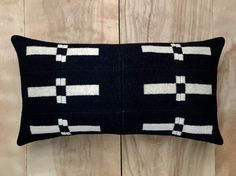 Portland Collection Fabric Pillow  Black Beige Geometric