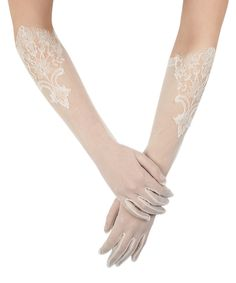 SALE ALERT! Ivory sheer floral embroidered gloves by SIMONE MARULLI @secretsales #salealert #wedding #gloves #bride #white #love